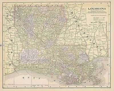 1890  ANTIQUE LOUISIANA color  map original authentic