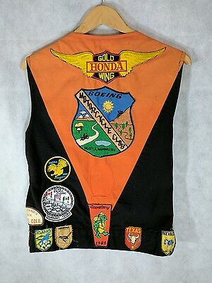 Vintage Boeing Motorcycle Club 35 Patches Snap Button Vest
