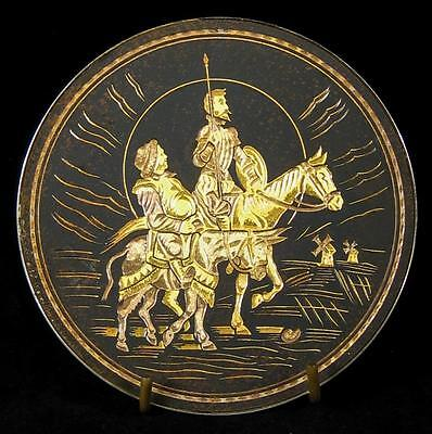 Damascene Don Quixote & Sancho Panza Toledo Spain Gold & Black Metal Dish 12cm