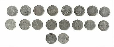 Uk English Circulated / Uncirculated 50P / Fifty Pence Coins 1998-2017