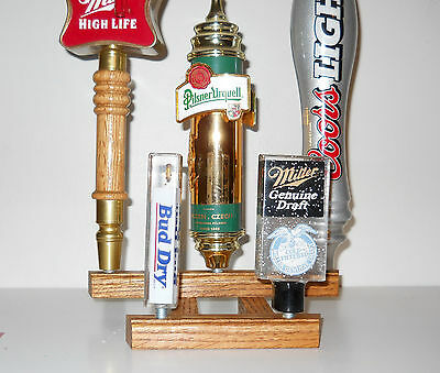 3 lot FIVE TAP OAK WOOD  BEER TAP HANDLE DISPLAYS (3 EACH HOLDS 15 TAPS)