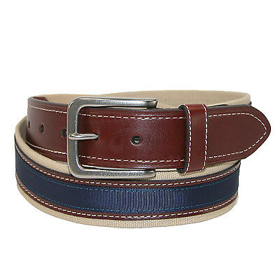 New Tommy Hilfiger Men's Canvas with Leather Inlay Casual Belt