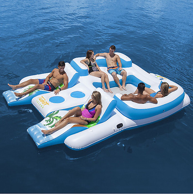 6 Person Oasis Island Lake Floating River Water Pool Inflatable Lounge Seat Raft