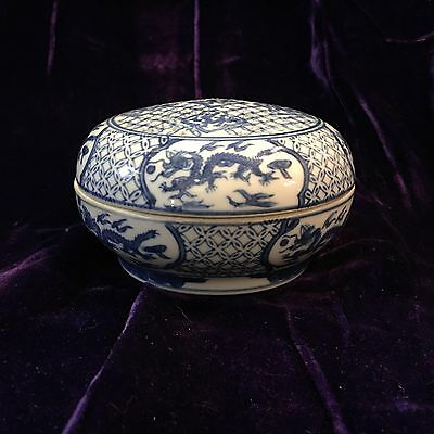 Vintage Chinese Blue & White Round Porcelain Box w/ Perforated Lid Dragon Motif