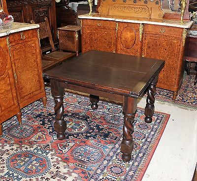Beautiful English Antique Barley Twist Oak Draw Leaf Kitchen Table.