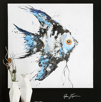 """New Huge 48"""" X 48"""" Rich Hand Painted On Canvas Angelfish Painting Wall Art Fish"""