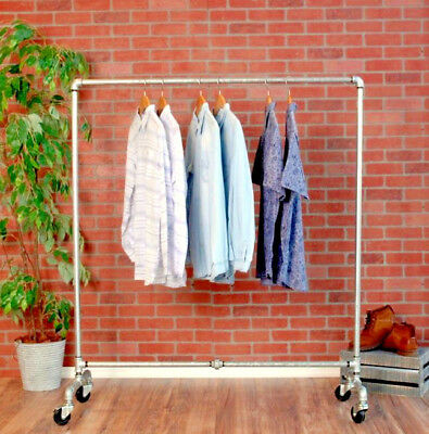 Industrial Pipe Rolling Clothing Rack - Galvanized Silver Pipe
