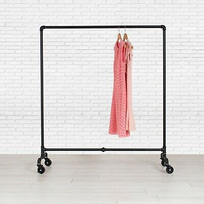 "Rolling Clothing Rack 60"" Wide Retail Store Fixture Clothes Rack Garment Rack"