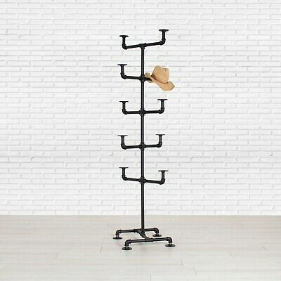 "Hat Rack - Industrial Style Hat Rack - Black 3/4"" Pipe - 10 Hat Pipe Stand"