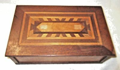 Antique/Vintage Hand Made Marquetry Inlaid Wood Sewing Box with Lid
