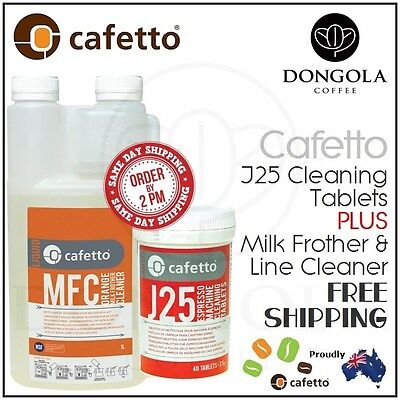 CAFETTO 40 J25 Cleaning Tablets + MFC Milk Frother Steamer & Line Cleaner 1ltr