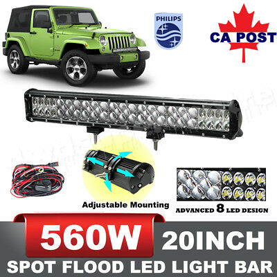 20inch 560W LED Light Bar Combo Work Driving Lamp Philips Jeep Truck VS 126W 144