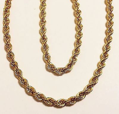 """18k yellow gold(3mm)Hollow Rope chain(16""""/18""""/20""""/24"""")"""