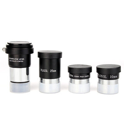 "1.25"" Plossl Telescope Eyepiece Set 4/10/25mm+2X Barlow Lens Kit for AstronomyYS"