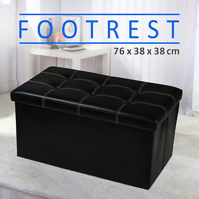 Large Black Blanket Box Ottoman Storage PU Leather Foot Rest Stool Chest Bench