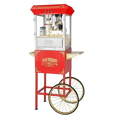 Great Northern Red 8oz Antique Style Popcorn Popper Machine w/Cart, 8 Ounce