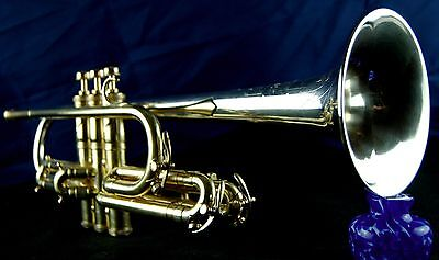 King Liberty Silver Tone Cornet Long Bell 1940  Sterling Silver Bell Case & MP