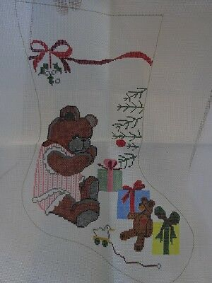Vtg 80s NEEDLEPOINT Hand Painted CANVAS for a CHRISTMAS STOCKING Teddy Bear GIRL