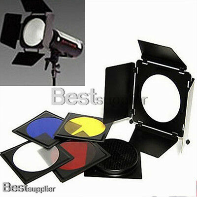 "6"" Photo Studio Large Flash Barn Door with Honeycomb Grid & Color Gel Filters"