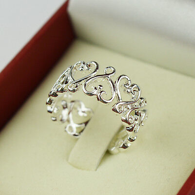 925 Silver Plated Opening Ring Wedding Rings New Love Fashion Women Valentine