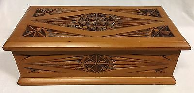 Vintage Rectangular Shaped Wooden Carved Trinket/Jewellery Box