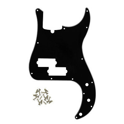IKN 3Ply P Bass Pickguard for Standard Precision Style Bass, 13 Hole, Black
