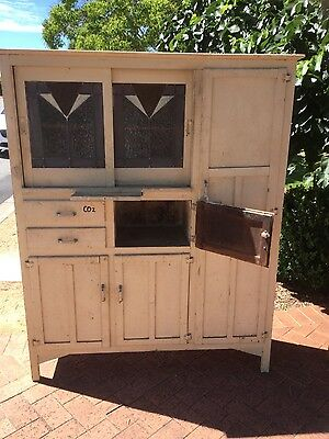 Vintage antique leadlight cabinet kitchen dresser cupboard