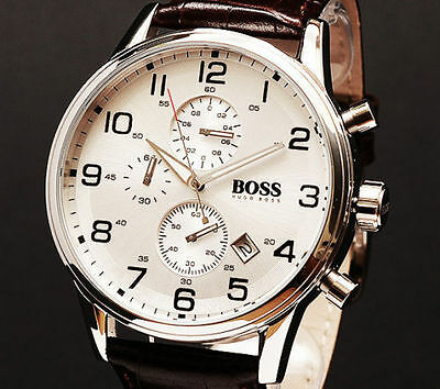 New Hugo Boss Hb1512447 Brown Leather Strap Classic Chronograph Men's Watch