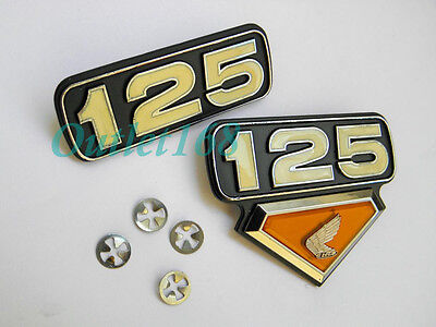 SET Pair Honda 125 CL CL125 S CL125S Side Frame Cover Emblem Badge + Nut Speed