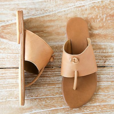 Greek Style Summer Leather sandals for Women Tan Brown Flat Sandal Flip Flop