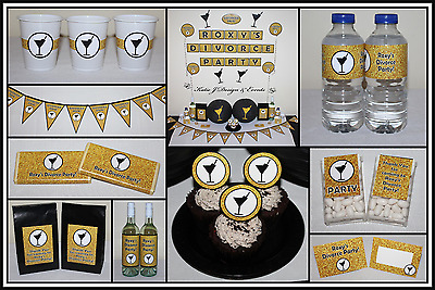 ** Personalised Divorced Diva Gold Glitter Divorce Party Decorations *