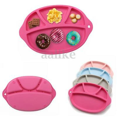 Baby Toddler Silicone Suction Table Food Tray Placemat Plate Mat Divided Bowl
