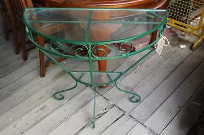 A Vintage Wrought French Iron Glass Top Demi Lune Hall Table - Indoor or Outdoor