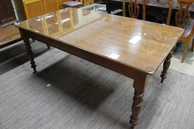A Vintage Baltic Pine Farmhouse Kitchen Table with Fitted Glass Top