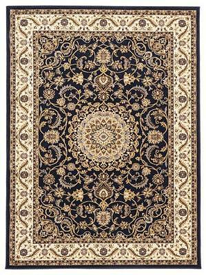 Persian Medallion Design Floor Area Rug Blue with Ivory Border Mashad & Hallway