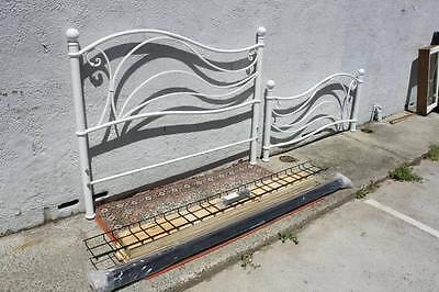 A White French Cast & Wrought Iron Queen Bed with Slat Base