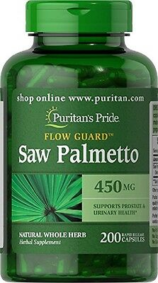 Puritans Pride Saw Palmetto 450mg X200 Capsules Supports Prostate Health
