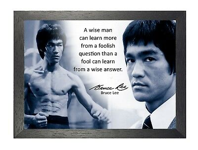 Bruce Lee 11 Famous Actor Idol Quote Martial Arts Legend Kung Fu Signed Poster