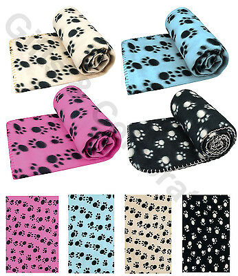 Pet Blanket Dogs Puppy Cat with Paw Print Soft Warm Fleece for Bed Sofa Car Trav