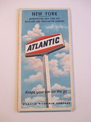 Vintage 1966 ATLANTIC NEW YORK Oil Gas Service Station Road Map