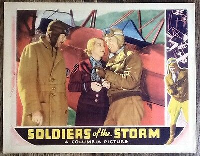Pre Code Aviation Crime Film SOLDIERS OF THE STORM Columbia 1933 Lobby Card #2