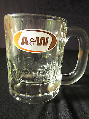 "A&W mini mug vintage Root beer glass mug child sized cup 4.5"" 10.5 cm tall"