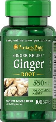 Puritans Pride Ginger Root 550mg X100 Capsules Supports Digestive Health
