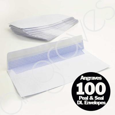 Pack of 100 Peel & Seal DL White Opaque Privacy Letter Envelopes 110 x 220mm FSC