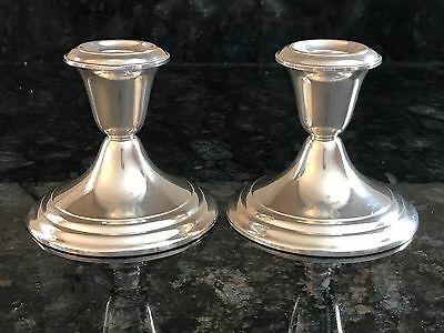 Pair Gorham Sterling Silver 661 Weighted Candlesticks Candleholders