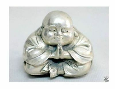 Chinese tibet silver carved happy buddha figurine#