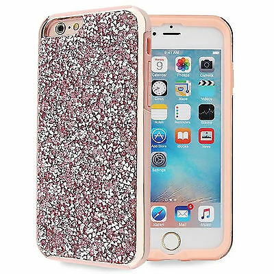 Pink Bling Hybrid Glitter TPU Protective Hard Case Cover For iPhone 6s/6 Plus