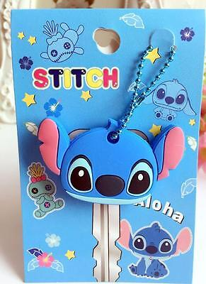 Lilo&stitch blue head silica gel Key Met Protective Cover anime key ornament