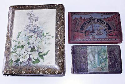Antique 1880s Victorian Photo Album w/Pictures & Autograph Books Oneida Cty, NY