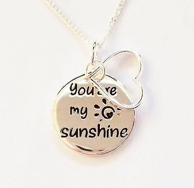925 Sterling Silver You are my sunshine love charm necklace pendant gift 2 sided